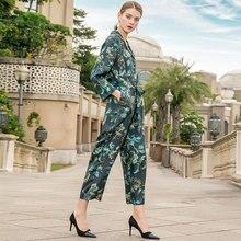 100% Silk Vintage Print Loose Straight Single Breasted Nine Pants Jumpsuits 2019 New Women Spring Office Lady Work