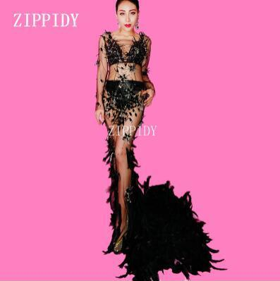 Black Mesh  Feather Train Crystals Dress Woman  Evening Party Perspective Luxurious Long Dress Prom  Celebrate Dress