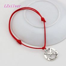 Hot ! 10pcs Adjustable Bracelets Red Waxes rope Antique silver Alloy Field Hockey Charms Bracelet B-29