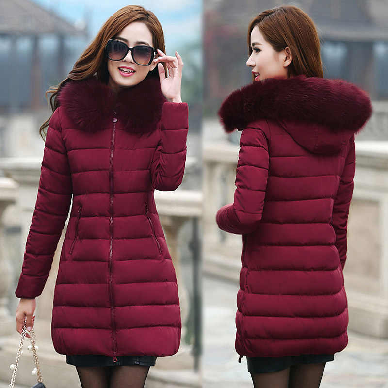 Chaqueta de algodón de talla grande 2019, abrigo de invierno para mujer, chaqueta acolchada a la moda para mujer, nuevos abrigos de invierno con cuello de piel WUJ0256