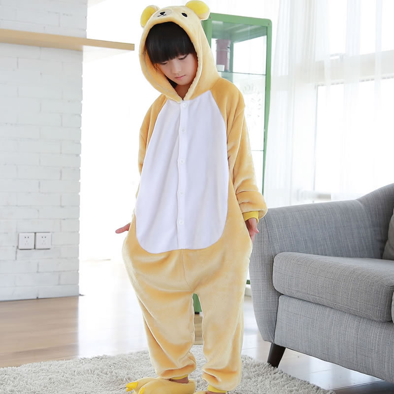 2017 New Pyjama Kids Christmas Pajamas Rilakkuma Children Kids Flannel Pajamas Anime Cartoon Costumes Sleepwear Cosplay Onesie