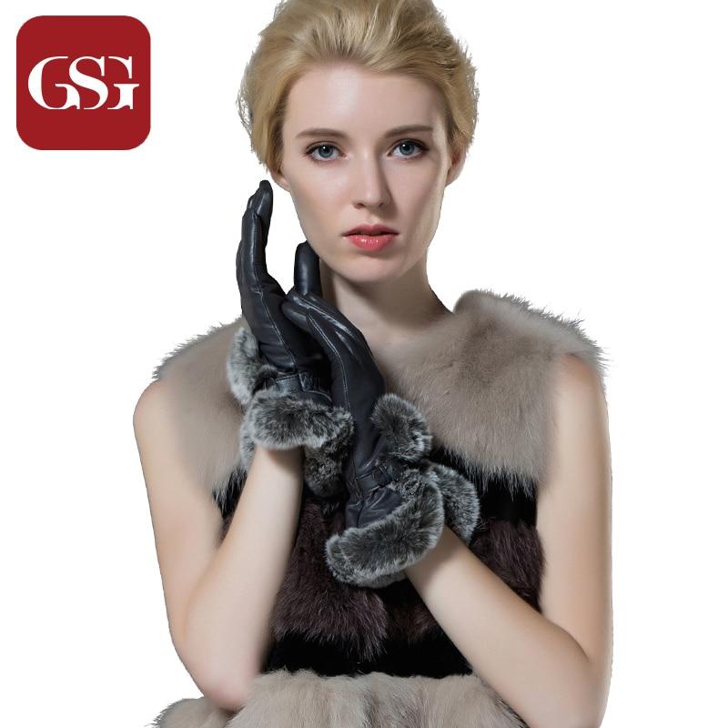 GSG Promotions Luxushandschuhe Damen Schaffell Echtes Leder Kurze Handschuhe mit Kaninchenfell Winter Dickes Futter Warme Handschuhe