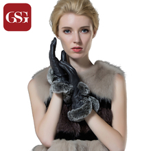GSG Promotions Luxury Gloves Women Sheepskin Genuine Leather Short Gloves with Rabbit Fur Winter Thick Lining Warm Mittens
