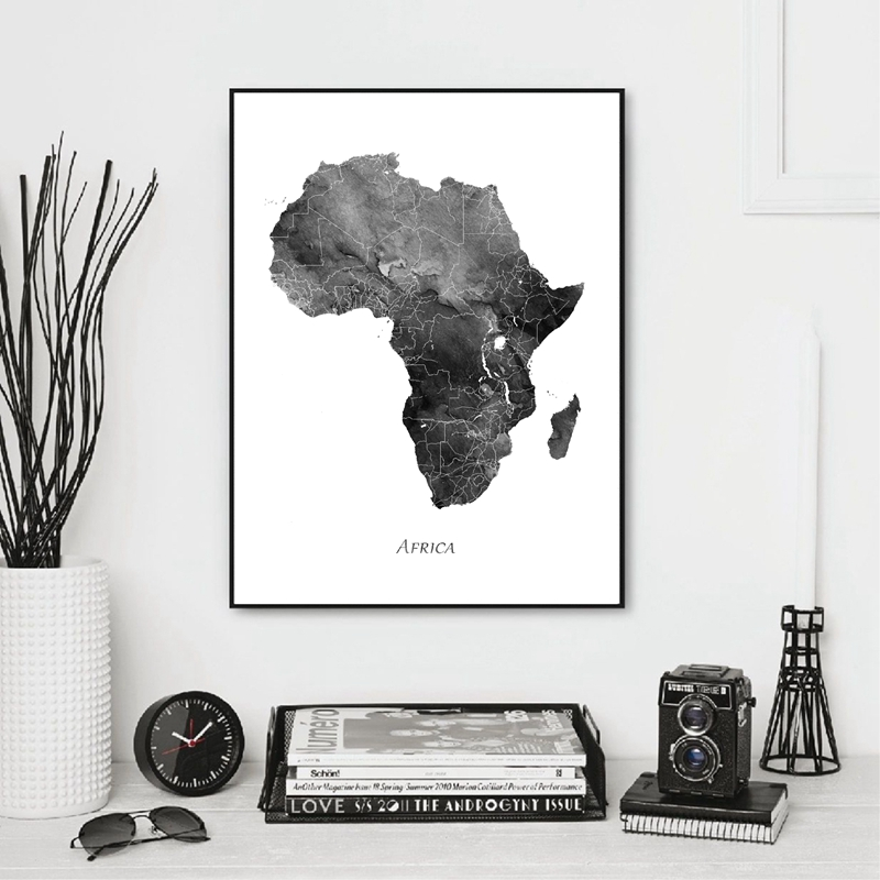 Africa Map Prints Home Decor