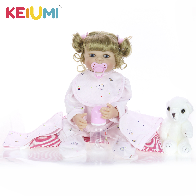 KEIUMI 22 Silicone Reborn Baby Doll Girl 55CM Reborn Silicone Doll For Girl Surprises Boneca DIY