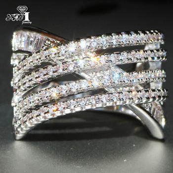 YaYI biżuteria księżniczka Cut 4 7 CT biały cyrkon kolor srebrny pierścionki zaręczynowe obrączki obrączki ślubne dziewczyny pierścionki Party prezenty tanie i dobre opinie Moda Zaręczyny Zespoły weselne Kobiety Cyrkonia TRENDY 20mm HR788 Prong ustawianie yayi jewelry Geometryczne Miedzi NONE