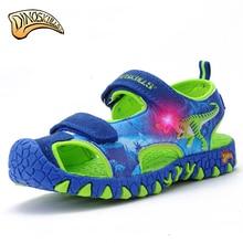 Dinoskulls/сандалии для мальчиков; светильник со светодиодной подсветкой; Летняя детская обувь с 3D рисунком динозавра; кожаные детские пляжные сандалии; коллекция года; противоскользящая светящаяся обувь