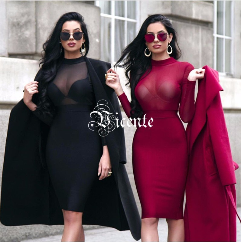Pre-Order Must Have Stunning Twins Laura & Klaudia Mesh Long Sleeves Patchwork Club Celebrity Party Bandage Dress