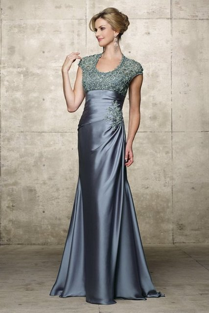 New style!Lace and Satin Appliques Beaded Court Train Sash fashion dress Mother Of The Bridal Dress 2013