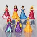 7 unids/set Figura Princesa Merida Rapunzel Ariel Cinderella Blancanieves Belle Aurora Princesa Sex Toy Kids Vestido de la Muñeca