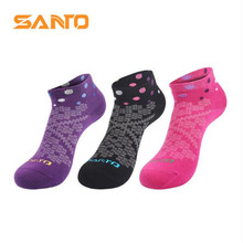 3 Pairs SANTO S044 50% Coolmax 30% Cotton Outdoor Sock Slippers Womens Sports Socks Quick Dry Spring Summer Fit to Size 35-38
