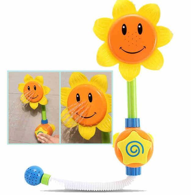 Cool!!! Jouet de bain bébé piscine enfants jouets de natation tournesol douche robinet douche 0-24 mois bain apprentissage jouet cadeau jaune vert
