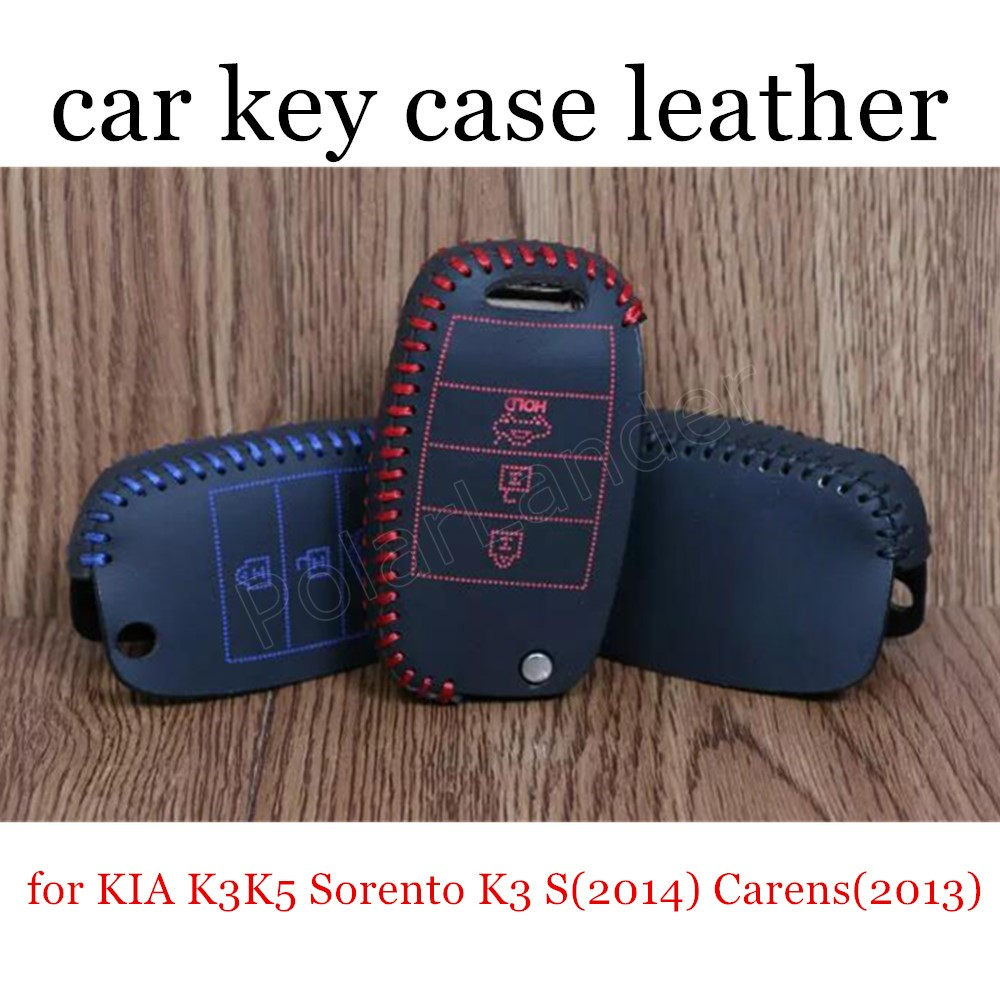 Only Red new coming genuine quality leather <font><b>car</b></font> key case <font><b>cover</b></font> sewing hand fit <font><b>for</b></font> <font><b>KIA</b></font> K3K5 <font><b>Sorento</b></font> K3S(2014) Carens(<font><b>2013</b></font>) image