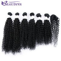 Beaudiva Pre Colored 1B Brazilian Remy Kinky Curly Hair 6 Bundles With Closure Human Hair Bundles