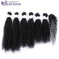 Beaudiva Pre Colored 1B Brazilian Remy Kinky Curly Hair 6 Bundles With Closure Human Hair Bundles