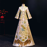 1c657a7a6b2958 Bride Chinese Style Cheongsam Wedding Evening Dress Vintage Womens  Embroidery Long Qipao Party Dresses Clothing S