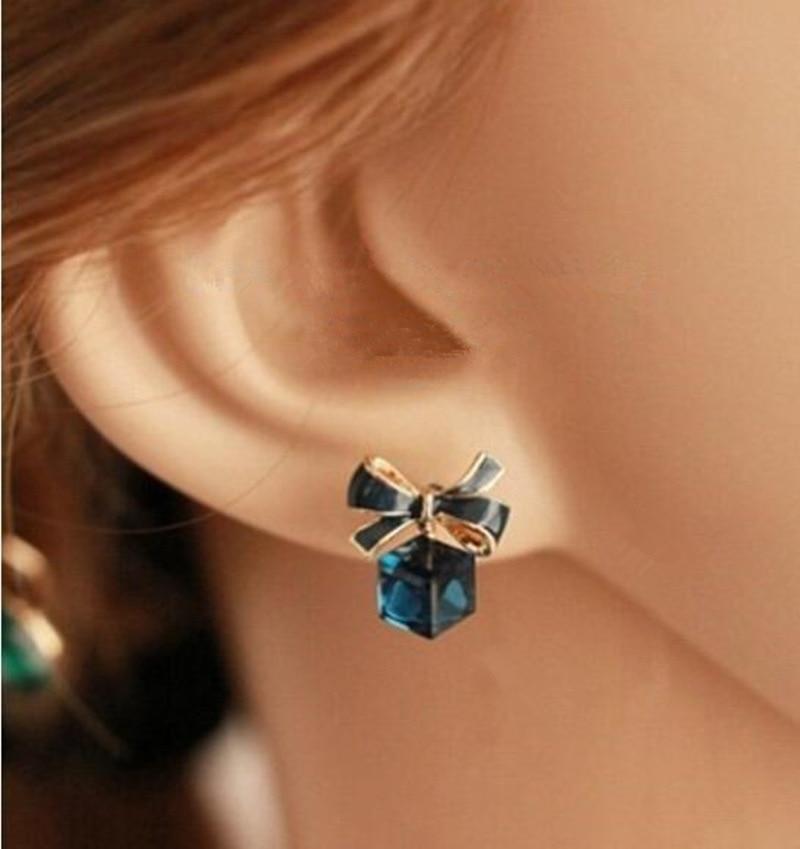 Hot crystal box cute bow earrings fashios