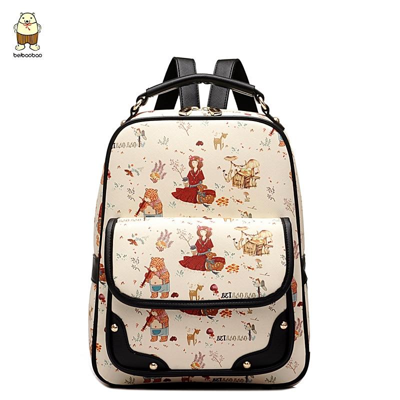 ФОТО Women Leather Cartoon Backpacks Graffiti Korean Fashion Famous Brand School Student Style Bags