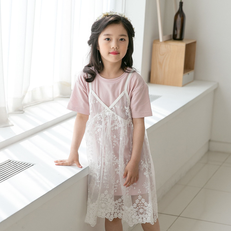 2018 Kids Teenager Girls Summer Clothes Set 2pcs Suit Lace Tulle Suspender Dress And Shirt Drsss Young Girl Clothing Sets chic round collar white t shirt high waisted lace suspender dress women s twinset