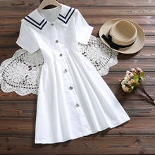 Японский Мори девушка летнее платье новые женские с коротким рукавом матросский воротник белые хлопковые платья женские винтажные Vestidos s-xxl