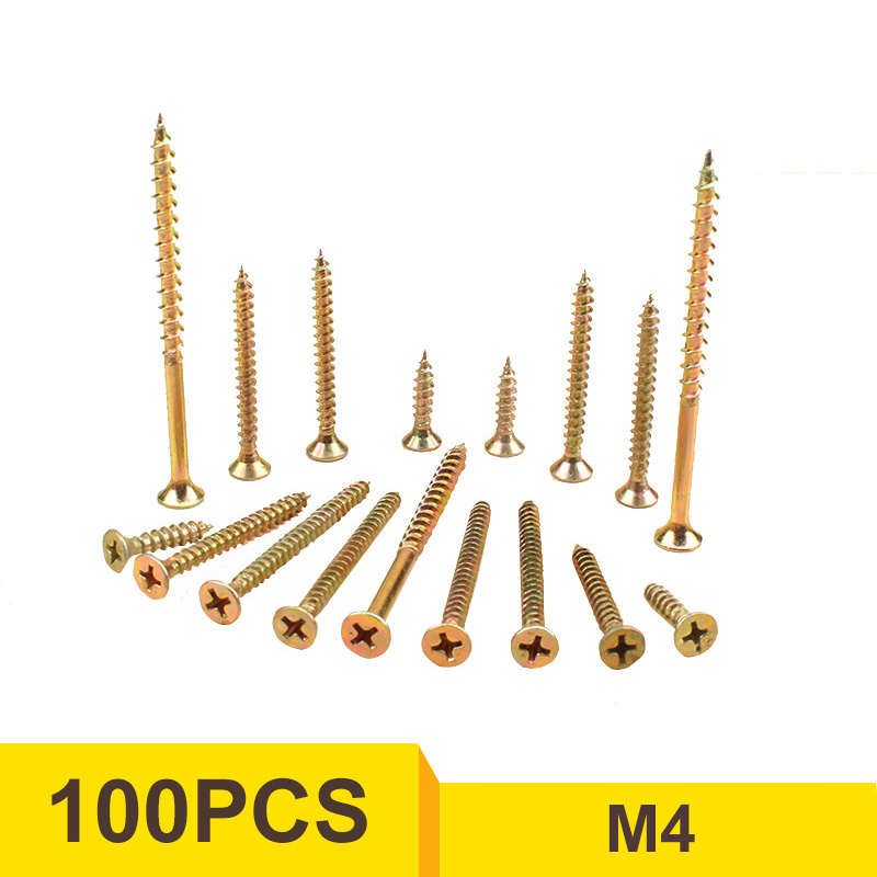 100pcs M3.5 M4 Carbon Steel Zinc Plated Flat Head Phillips Self-Tapping Screws 50 pieces metric m4 zinc plated steel countersunk washers 4 x 2 x13 8mm