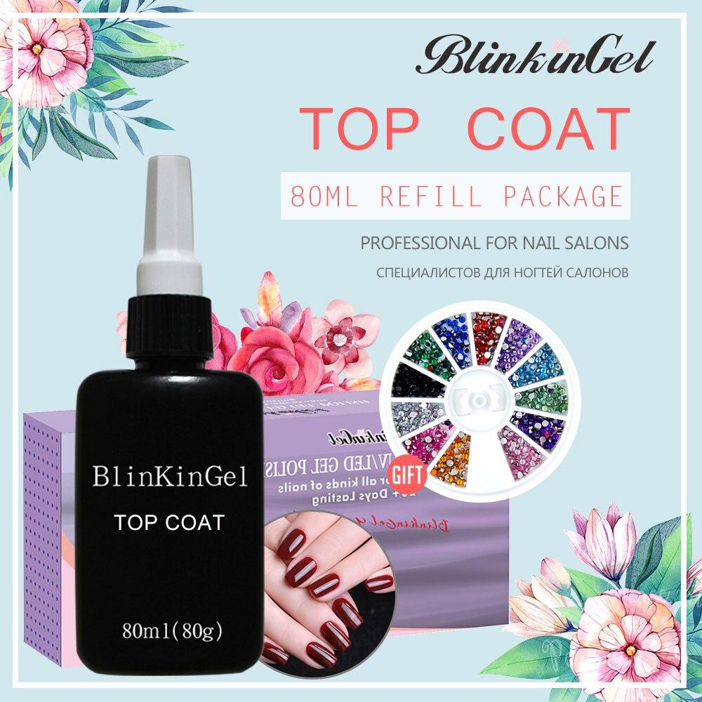 BlinkinGel 1 pcs 80 ml Prego Top Coat UV Gel Top Coat Não Pegajosa Limpar Soak Off Unha Polonês de cor transparente em Resina