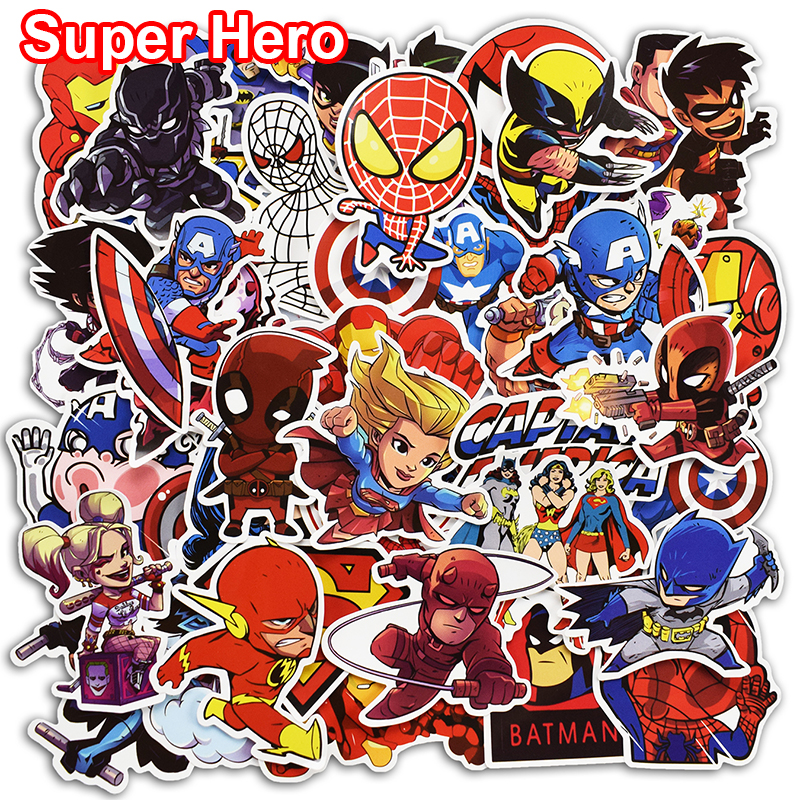 цена на 100 Pcs Super Hero Stickers for Laptop Skateboard Luggage Car Styling Motorcycle Home Decor JDM Cool Funny Waterproof Sticker