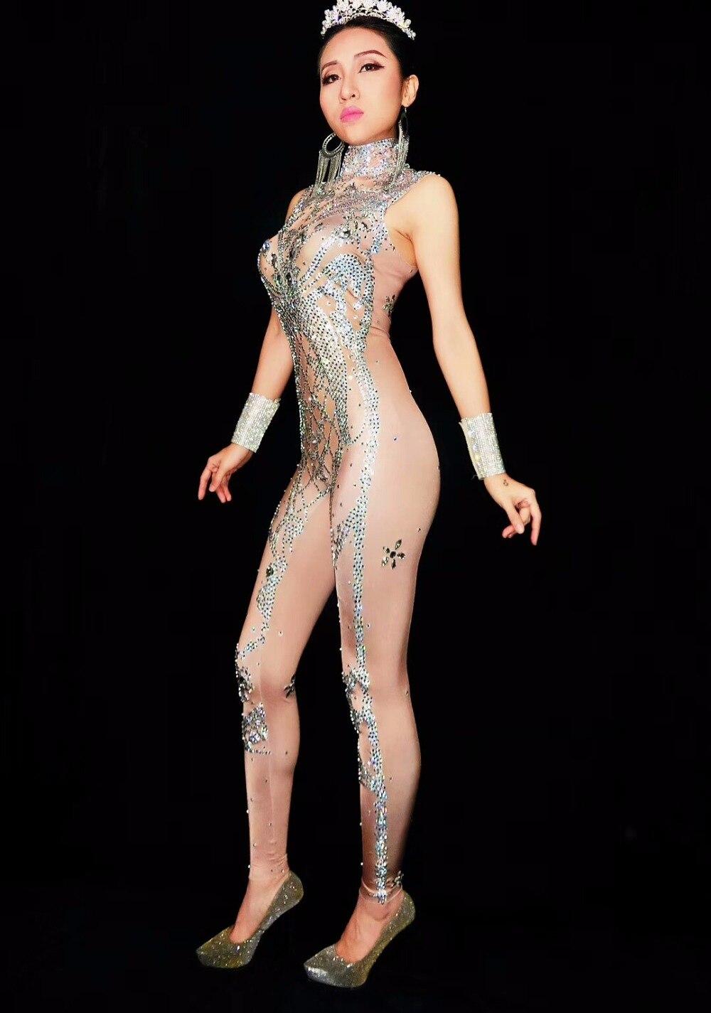 Bracelet Brillant Salopette Barboteuses Diamant Stage Porter Performance Sexy Jumpsuit Pierre Cristal Justaucorps Discothèque Costume Femelle Mousseux Partie Uw4In01qa