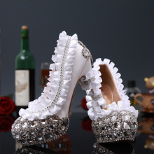 Gorgeous Red Round Toe Flower Rhinestone Crystal Laies shoes High heells Bridal Wedding Dress Shoes Lady Party Dance Dress Shoes