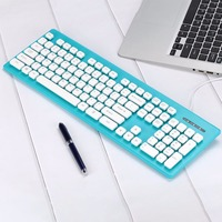 Cewaal 내구성 유선 USB 키보드 유선 컴퓨터 Keyboar 마우스 콤보 초콜릿 키보드 캡 노트북 데스크탑 PC