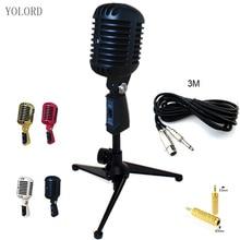 Retro Mic Vintage Metal dinámico micrófono soporte montaje condensador Audio voz KTV canto Vocal concierto fiesta Festival