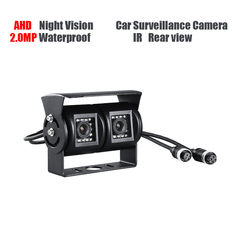 Free Shipping AHD 2.0MP Dual Cam IR Night Vision Waterproof Rear View Parking Backup Reversing Camera for Truck Bus Surveillance