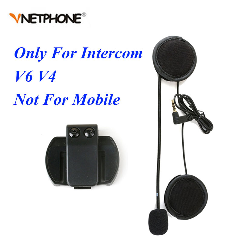 Vnetphone 3.5mm Microphone Speaker Headset And Helmet Intercom Clip for V4 V6 Motorcycle Bluetooth Interphone(China)