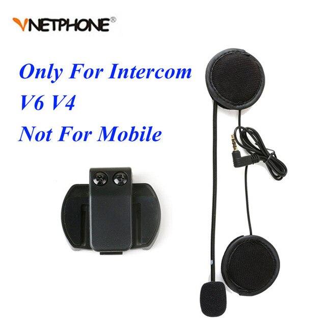 Vnetphone 3.5mm Microphone Speaker Headset And Helmet Intercom Clip for V4 V6 Motorcycle Bluetooth Interphone