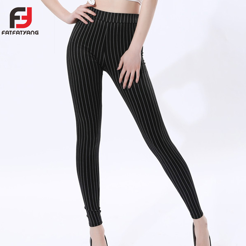 Ladies Striped Skinny Pants High Waist Workwear Woman Pants Casual Women Stretchy Autumn Black Plus Size XL-5XL Skinny Trousers