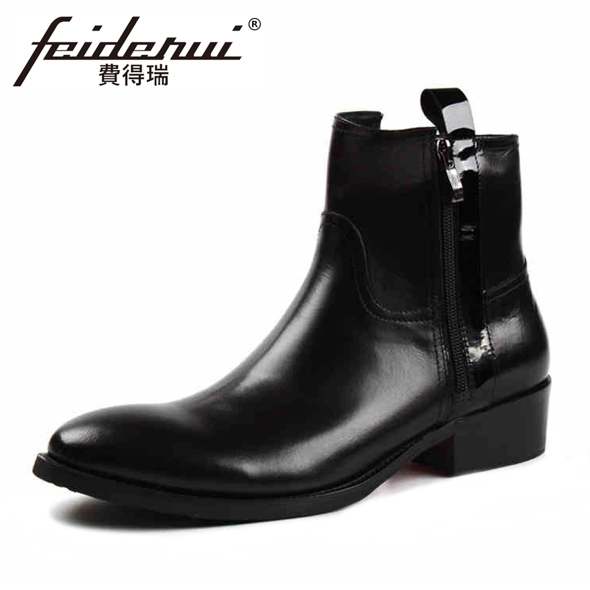High Quality Genuine Leather Men's Comfortable Ankle Boots Round Toe High Top Handmade Cowboy Riding Man Shoes YMX211