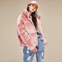 Hot Sale New Arrival Brand Winter Fashion Women Thick Warm Parkas Jacket Velvet Short Pink Sweet