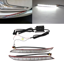 ФОТО 2 pcs dc 12v car led drl daytime running light driving 6000k fog lamp for kia k2 rio 2012-2014