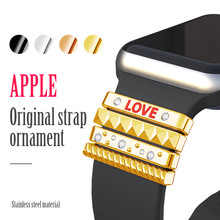 "Popular Strap Ornament for Apple Watch Original Silicone Band 38mm Stainless Steel Metal Decorative Ring with ""LOVE"" as a Gift"