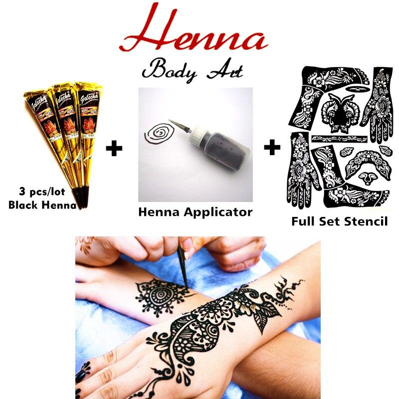 Mehndi Henné Body Art Set, Pasta tatuaggio Coni 3 pz + Hennè Applicatore + Stencil, Sexy Tatoo Temporaneo Da Sposa Adulto Prodotti Del Sesso