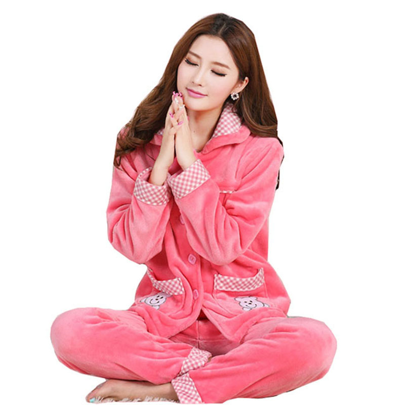 Autumn Winter Long Sleeved Women Flannel Thick Pajamas Coral Fleece Home Suits Pajama Sets Lovely Pyjamas Women Homewear XXL