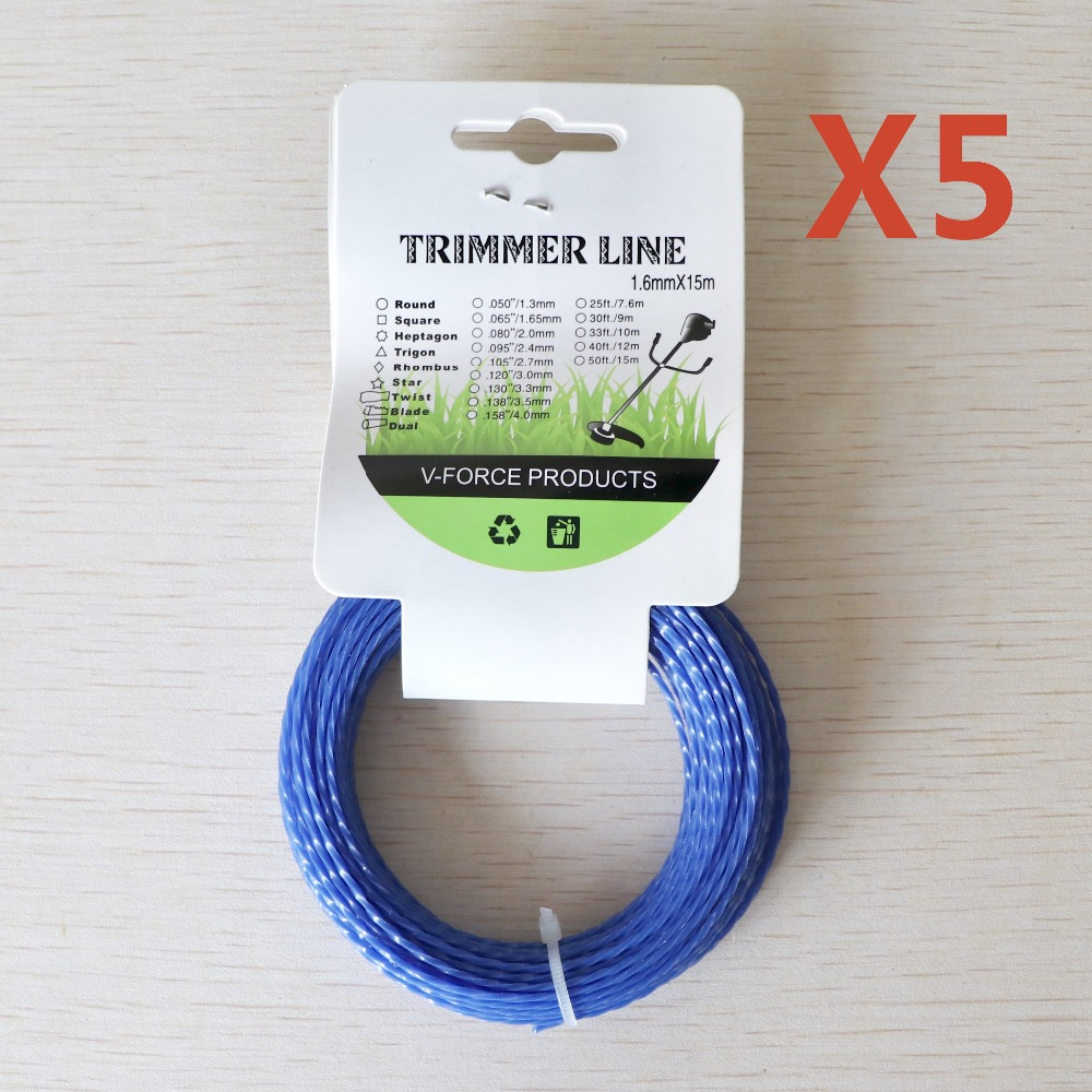 5pcs Grass Trimmer Line 1.6mm Diameter 15M Twist Square//spiral for Brush Cutter