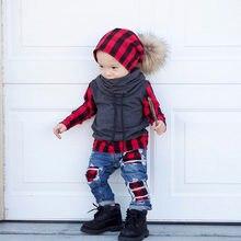 Marka yeni 2 parça Sert çocuklar erkek bebek ekose üstleri kazak T Shirt Denim delik Hip hop kot pantolon tayt 2 adet kıyafet giysileri