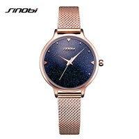 SINOBI Brand Women Watches Milan Strap Quartz Reloj Mujer Luxury Dress Watch Ladies Black Dial Rose