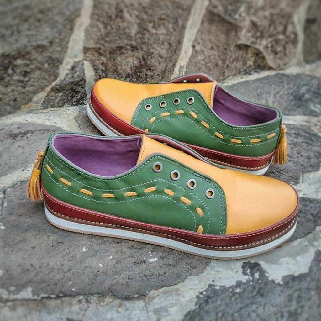 Leer Loafers Schoenen Womens Fashion Casual Rome Retro Gemengde Kleuren Slip Op Sneakers Vrouwen Slip-On Sneaker Comfortabele # 8WY