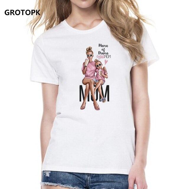 אמא של אהבת חולצות לנשים אמא Duaghter לבן חולצה קיץ קצר שרוול נשי חולצות למעלה 2019 ווג T חולצה