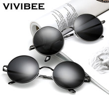 815f2fd112 VIVIBEE Classic Polarized Round Metal Sun Glasses Casual Women Sunglasses  UV400 Men Black HD Shades 2019 Trend Eyewear
