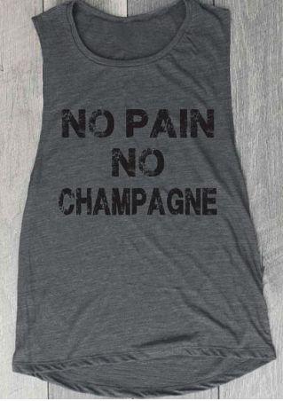Vessos 2018 Women Man Tank Shirts O-Neck None Sleeves No Pain No Champagne Letter Printed Popular Fashion Trend Stylish