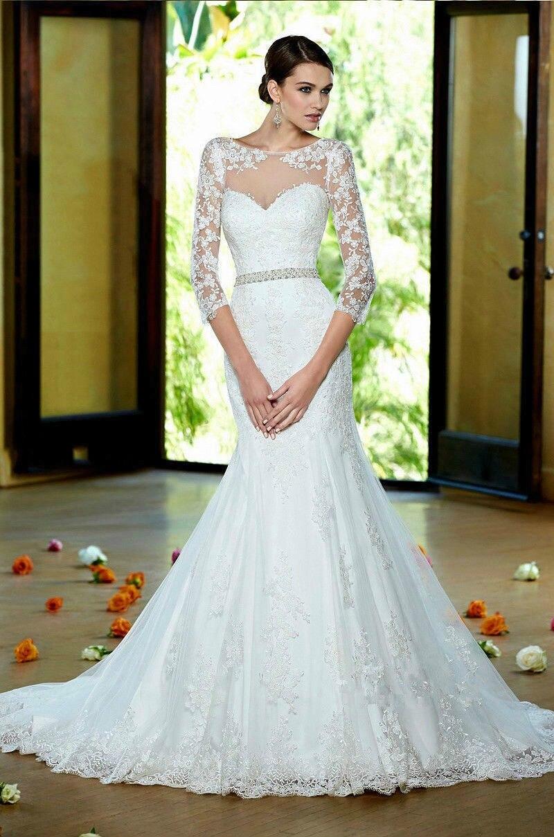 Casamento 2017 New Three Quarter Sleeve Lace Fishtail Wedding Dress Rhinestone Belt Mopping Beautiful Mermaid Dresses In From