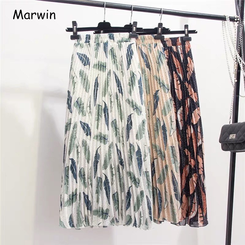 Marwin 2019 New-Coming Summer Beach Leaves Printing Women Skirts A-Line Mid-Calf Chiffon Pleated Skirt High Street Style Skirts